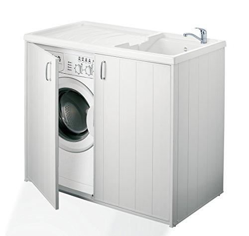 Negrari 6008s Meuble de machine à laver réversible en résine Blanc 109 x 60 x 94 cm