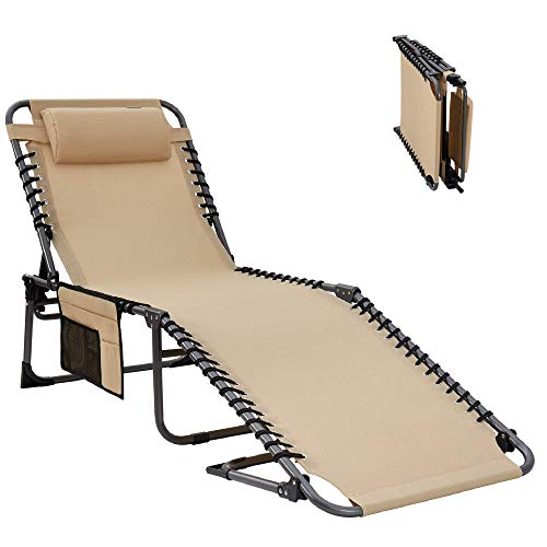 KingCamp XL Sun Lounger Portable Folding Camping Bed Reclining Lounge Chair with Pillow & Side Pocket Load Capacity 120 kg 4-Level Adjustable 190 x 59 x 34 cm for Garden Camping Travel