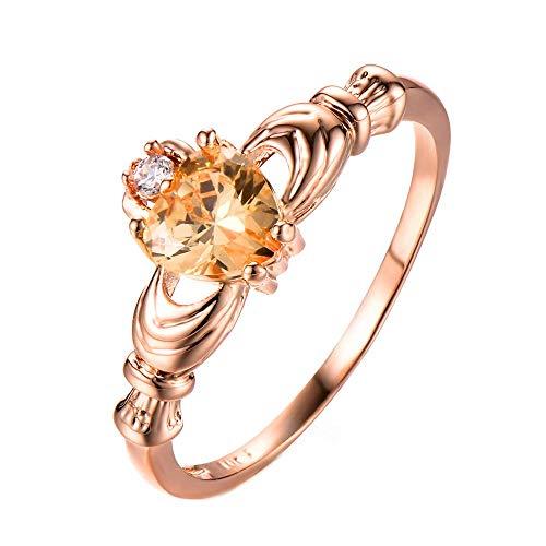 Purmy Frauen Ring Weißes Gold überzogen Gelb Zirkonia Claddagh Gestalten Verlobungsring Größe 62 (19.7)