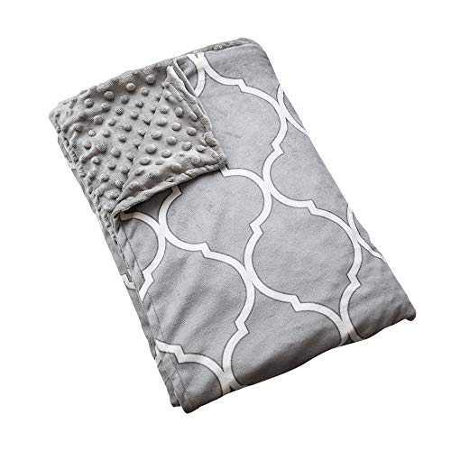 Kip & Nod Duvet Cover for Weighted Blankets - Ultra-Soft Minky - Removable 60x80 Queen Size Weighted Blanket Cover - Grey and White - 59 Inch Zipper Closure and 8 Ties (Duvet Cover ONLY)