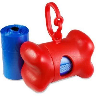 Dispensador de bolsas recoge cacas perro, dispensador con forma de hueso de bolsitas colectoras de excremento de perros y mascotas, 15 Bolsas Biodegradables