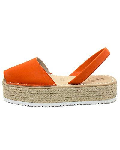 Authentische menorquinische Sandalen (Avarcas) Plattform, Damen - Turqueta, Orange Wildleder, 36