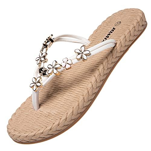 Jomix Chanclas elegantes de verano para mujer., 05 Blanco, 38 EU