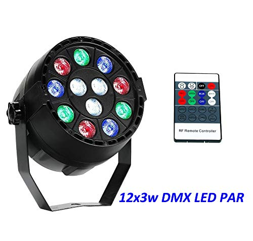 Par Lights RGBW 12x3W Leds Uplights podiumverlichting, geluid geactiveerd of DMX-besturing met afstandsbediening
