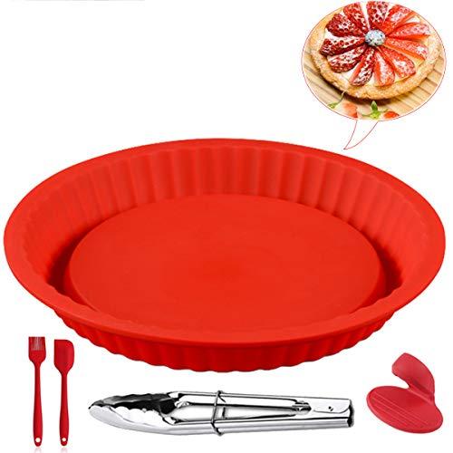 XINRANFF Silikon Backform, Tortenbodenform, Obstkuchenform Ø 26.5 cm Flexxibel, Obsttortenform aus Silikon, Hochwertige Silikon-Kuchenform Für Pie, Quiche, Obstkuchen