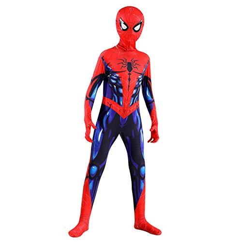 FSMJY Spiderman Kostüm 9-10 Jahre Jungen 3D-Druck Muskel Spiderman Cosplay Kostüm Anzug Erwachsene Kinder Halloween Karneval Jumpsuit Bodysuit,Spiderman-100~110cm