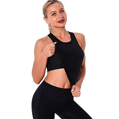 Women Seamless Workout Tank Tops Ribbed Gym Athletic...