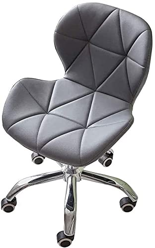 TAIDENG Office Computer Chair Adjustable Office Chair Faux Leather Swivel Computer Desk with Wheels ChairHome Office Study Room Furniture with Chrome Base Padded Swivel Chair (Color : Gray)