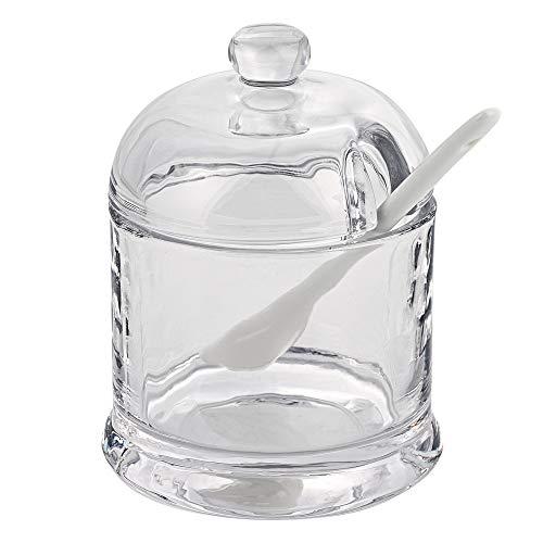 Badash Crystal Glass Jar - 5.25' Tall Jam, Honey, Sugar or Condiment Glass Jar with Lid and Ceramic Spoon - Also Super for Salsa, Salad Dressing, Hummus