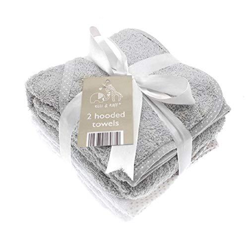 Elli & Raff - 2 toallas con capucha para bebé, suaves, blancas, para baño, 100 % algodón