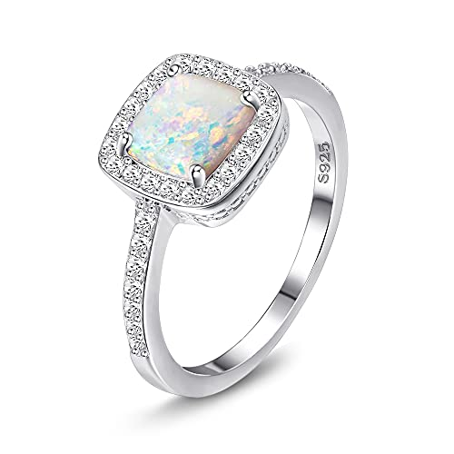 Milacolato 925 Sterling Silver White Opal Rings for Women 14K White Gold Plated Cubic Zirconia Halo Engagement Rings Created White Fire Opal Rings, Size 6