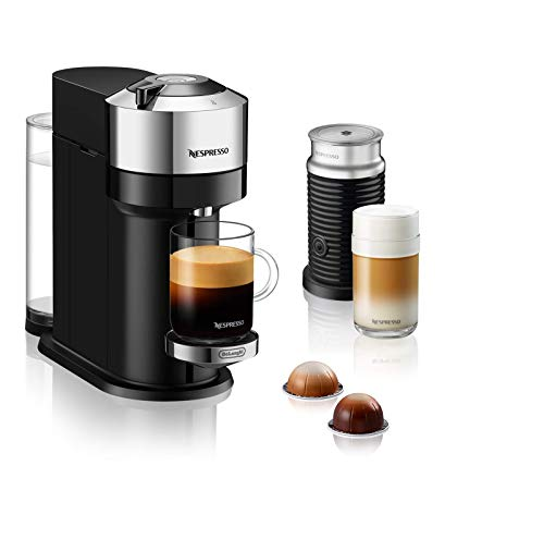 De'Longhi Nespresso Vertuo Next Deluxe ENV 120.CAE Kaffeekapselmaschine mit Aeroccino Milchaufschäumer, chromfarben