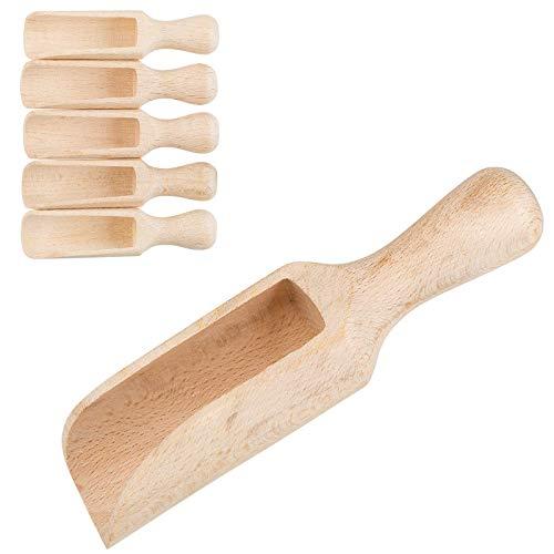 Smart-Planet® Gewürzschaufel Set 5 Stück - Gewürzlöffel 14,5 cm - Füllschaufel Holz - Holzschaufel - Holzlöffel - Gewürzstreuer - Teeschaufel