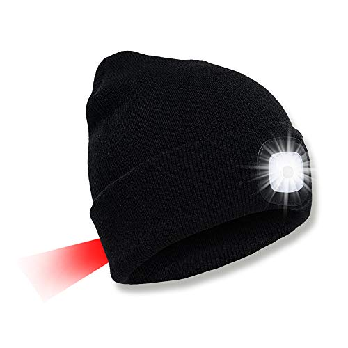 SPGOOD LED Beanie Beleuchtete Mütze mit Licht Laufmütze Herren Damen Kappe Lampe USB Nachladbare Mütze Winter Warm Stirnlampe mit LED Licht für Jogger,Camping,Laufen (2 Lichter Beanie Schwarz)