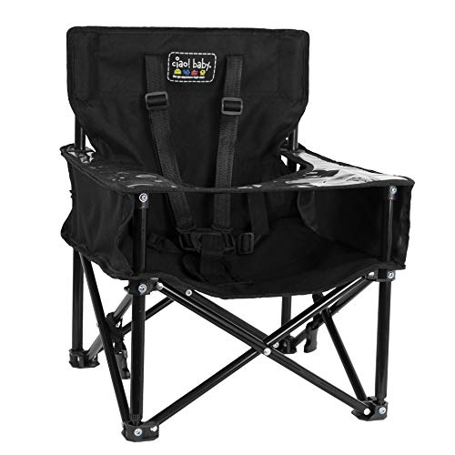 ciao! baby Pug Portable Booster Seat, Safe Feeding Chair with Safety Harness and Carry Bag for Children, Perfect for Kitchen, Dining Room, Restaurants, and More - Black