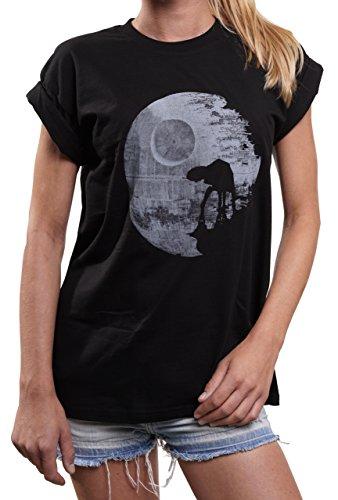 MAKAYA Oversize Top Talla Grande Manga Corta - Death Star AT Moon - Camiseta Frikis para Mujer Wars Negro M