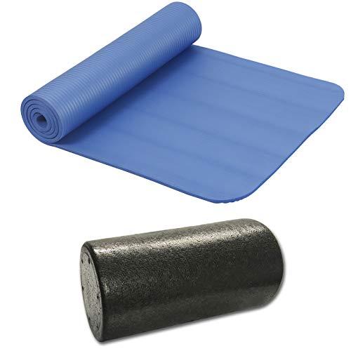 HAC24 Set Gymnastikmatte 190cm x 60cm x 1cm & Gymnastikrolle Yogamatte Yogarolle Sportmatte Faszienrolle