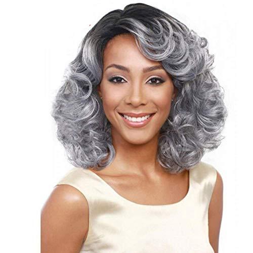 LDSBGJ Kort volume pruik grijze dame hoge temperatuur zijde chemische vezels haarbedekking Halloween pluizig