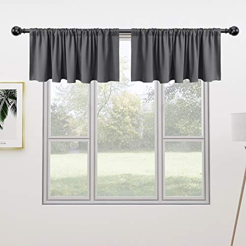 FLOWEROOM Valance Kitchen Curtains Set, 52 x 18 inch Long, Grey, 2 Pieces  Rod Pocket Short Blackout Curtain for Small Windows, Thermal Window Treatment and Room Darkening Cafe Curtain Panels