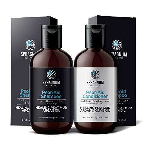 Set de champú y acondicionador para psoriasis: terapia completa de barro de turba para la picazón del cuero cabelludo.Tratamiento curativo natural de turba, argán y aceite de oliva 100% libre