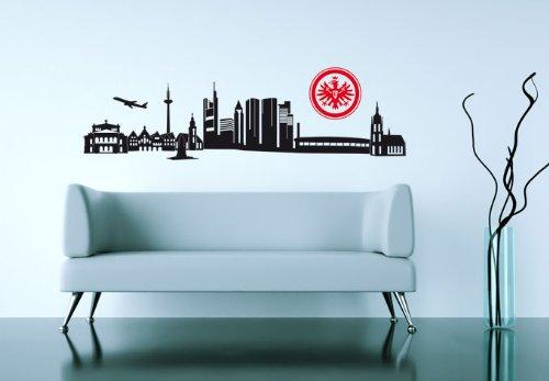alenio selbstklebendes Wandtattoo entfernbar – Eintracht Frankfurt Skyline mit Logo 120 cm Breite Fußball Klebebilder