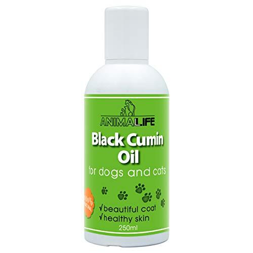 Aceite Comino Negro 250ml para Perros & Gatos - 100% Natural Aceite Prensado en Frío - Vitaminas - Minerales - Omega 3 6 9 - Ayuda Contra las Garrapatas y las Pulgas - Black Cumin Oil