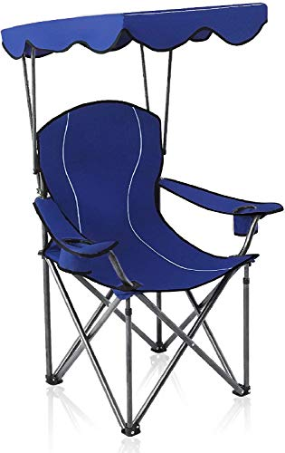 ALPHA CAMP Strandstuhl mit Sonnendach und Taschen, Kampierender Fischen-Garten-Stuhl Angelstuhl, Tragbarer Schatten-Überdachungs-Klappstuhl bis 150kg, Ideal für Camping Outdoor, Dunkelblau