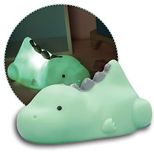 Reer lumilu Lazy Friends Dino, süßes Dinosaurier-Nachtlicht, tolles Taufgeschenk, Geburtstags-Geschenk für Jungen und Mädchen, 52223, grün