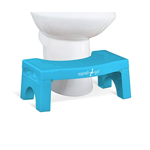 """Squat N Go 7"""" Folding Squatting Stool   The Only Foldable Toilet Stool   Convenient and Compact – Great for Travel   Fits All Toilets, Folds for Easy Storage, Use in Any Bathroom   Blue Color  """
