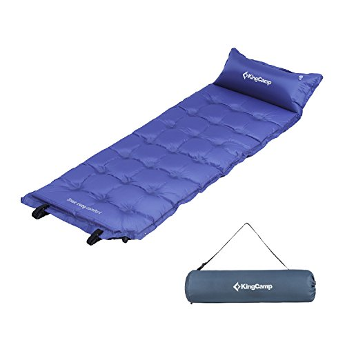 KingCamp Camping Self-Inflating Pad Sleeping Mat with Attached Inflatable Pillow,Water Repellent Coating, Quick Flow ABS Value, Firm Ultralight Comfortable for Outdoor
