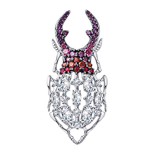 SOKOLOV Jewelry glitter broche zilver elegant met rode korund en zirkonia I Sterling zilver speld I Sieraadnaald groot I Exclusieve designer merksieraden dames sieraden afmeting ca. 5 x 2 cm