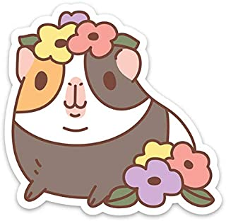 Guinea Pig and Flowers Vinyl Sticker