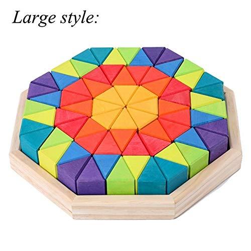 KDHJY Spelling Educación Juguetes creativos de construcción 72PCS partículas Grandes Triángulo del Arco Iris de los Bloques Huecos de los niños apiladas Juguetes (Color : B Large Style)
