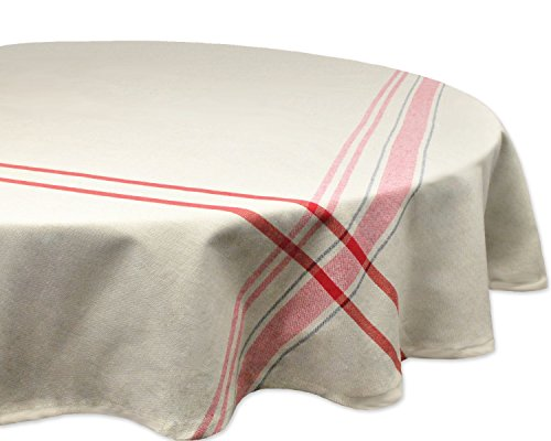 DII 100% Cotton Everyday French Stripe Tabletop Collection, Tablecloth, 70 Round, Taupe/Red