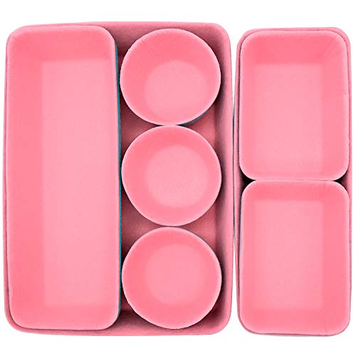 Cisolen Schubladen Organizer, Ordnungssystem Aus Filz, für Aufbewahrung Büroartikeln, Kosmetik, kleineren Gegenständen (Rosa)