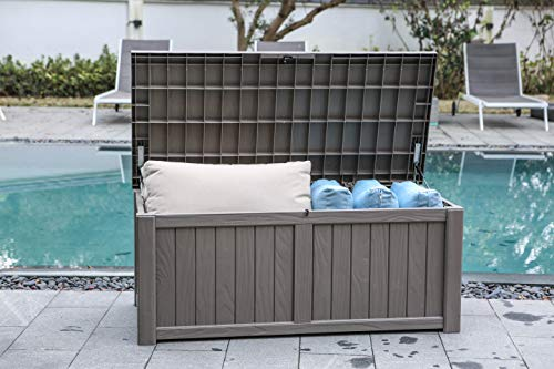 BLUU 120 Gallon Outdoor Deck Box Storage for Outdoor Pillows, Pool Toys, Garden Tools, Furniture and Sports Equipment   Water-resistant   Grey   Lock Included