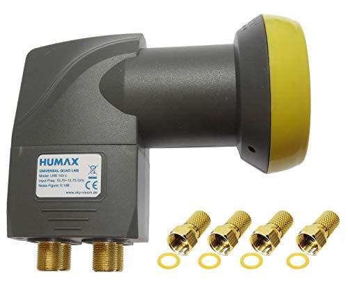 Humax Gold Quad LNB, digitales Satelliten universal LNB mit LTE-Filter für 4 Teilnehmer inkl. Wetterschutzgehäuse und F-Steckern mit Dichtung für besten Satempfang in HD, Full HD, UHD, 4K und 8K