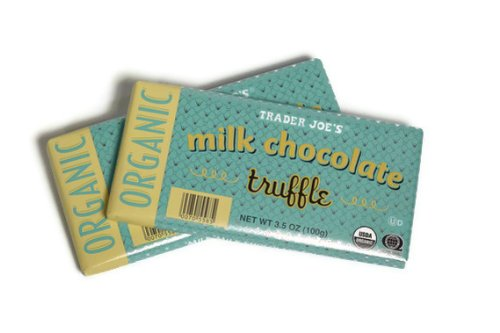 Trader Joe's Organic Milk Chocolate Truffle Bar, 3.5 oz. (Pack of 2)