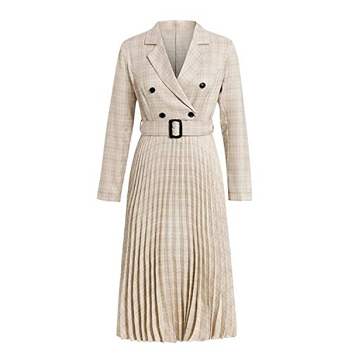 Vintage Pleated Belt Plaid Dress Women Elegant Office Ladies Blazer Dresses Long Sleeve Dress-Champagne-Large