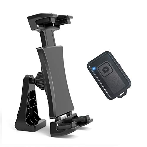 360 Degree Rotatable iPad Tripod Mount Adapter with Wireless Photo Remote Universal Tablet Cell Phone Clamp Holder for iPad Pro Air Mini, iPhone, Kindle Fire, Samsung Tab for Tripod Selfie Stick
