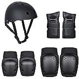 Conjunto de equipo de protección de 7 piezas para bicicleta de patinaje con cascos rodilleras coderas, almohadillas de palma, para niños y adultos
