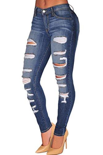 Sidefeel Women Denim Destroyed Whisker Wash Skinny Jeans Large Blue