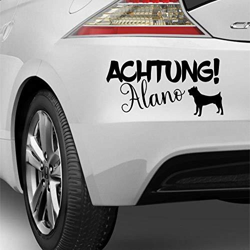 myrockshirt Achtung Alano ca 25cm mit Hundesilhouette Dog Liebe Pet Hunderasse Aufkleber Autoaufkleber Sticker Decal Profi Qualität