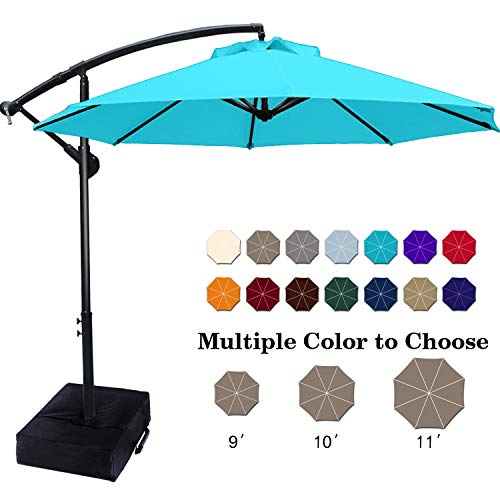 ABCCANOPY Patio Umbrellas Cantilever Umbrella Offset Hanging Umbrellas 9 FT Outdoor Market Umbrella with Crank & Cross Base for Garden, Deck, Backyard, Pool and Beach, 12+ Colors,Turquoise