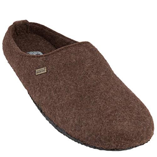 BIOSOFT Mister Cosy Herren | Männer Woll-Filz Slipper Pantoffeln | Freizeit Hausschuh | Schlüpfschuh | Pantolette | Schlappen | Hüttenschuh - Gr. 42-46 - 44 braun/Brown