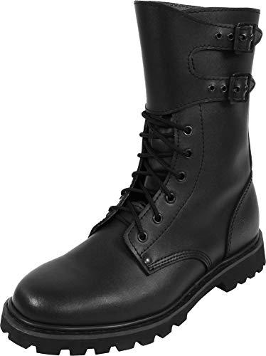 Gear Walk Springerstiefel 10, 14 oder 30 Loch mit Stahlkappe und echtem Leder Farbe Schwarz mit Schnallen Größe 16