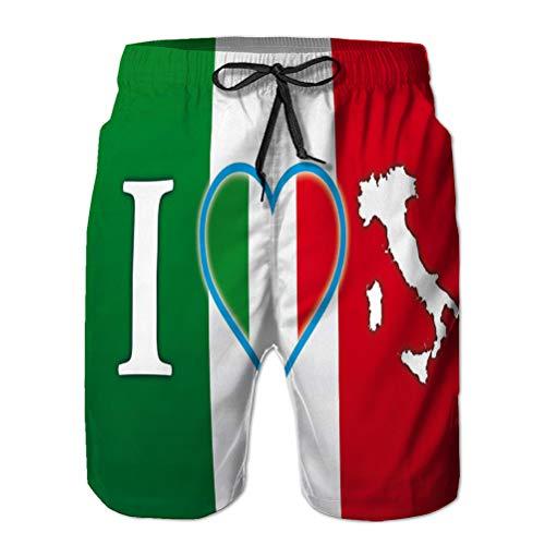 jiilwkie Herren Casual Shorts Badehose Beach Board Shorts Ich Liebe Italien Flagge Original EL L