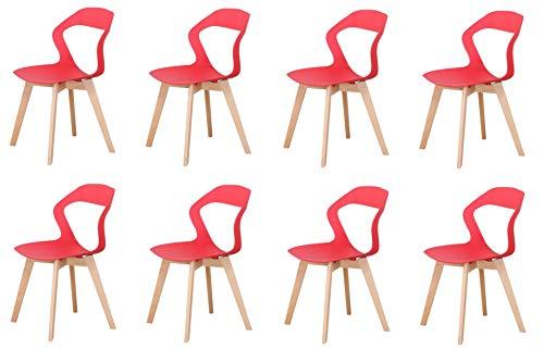 luckeu Juego de 8 sillas de comedor de plástico con respaldo hueco, sillas de oficina, salón, cocina, taburetes con patas de madera, sillas de comedor, jardín, oficina, cafés con respaldo (rojo, 8)