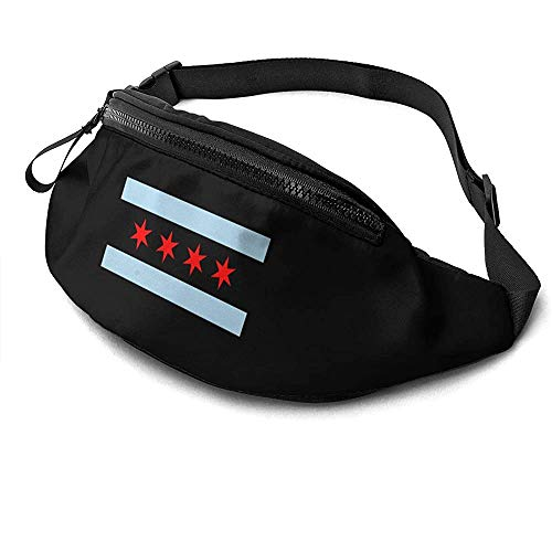 Jrey.T Chicago Flag Logo Runner's Fanny Bag Waist Pack Réglable Sangles Poche avec Prise Casque pour Unisexe
