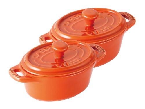 staub セラミック ミニオーバルココット11cm2PCSペアセット オレンジ 40511-415